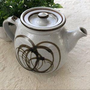 Handmade vintage Glazed pottery white tea pot